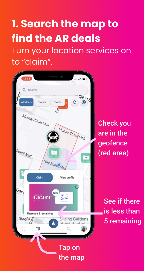 1. Search the map to find the AR deals